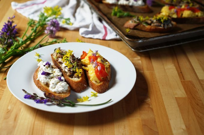Bolted blossom crostini (Courtesy of WISWD)